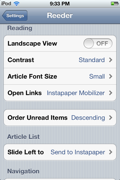 Screen shot of Reeder settings