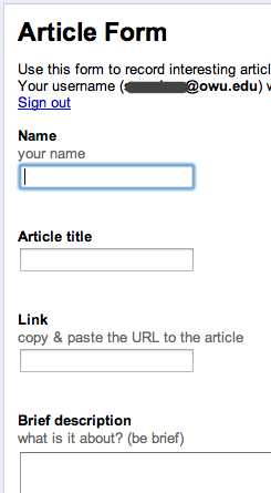 screenshot of article submission form